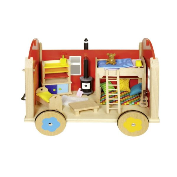Goki Construction Site Trailer Dolls House With Accessories 24 Pieces